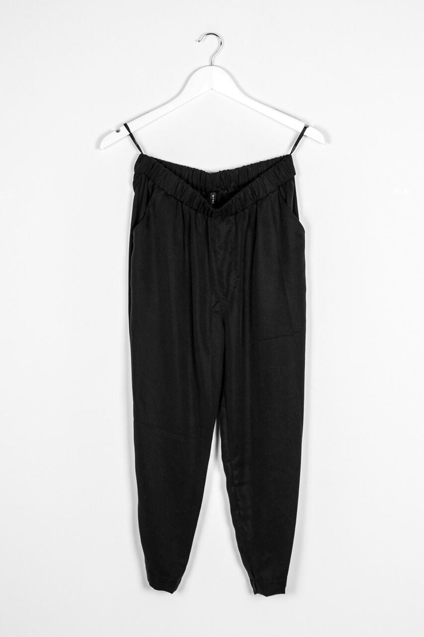 roam pant black linen rayon nyne stockists river parnel clothing nz designer Made in New Zealand