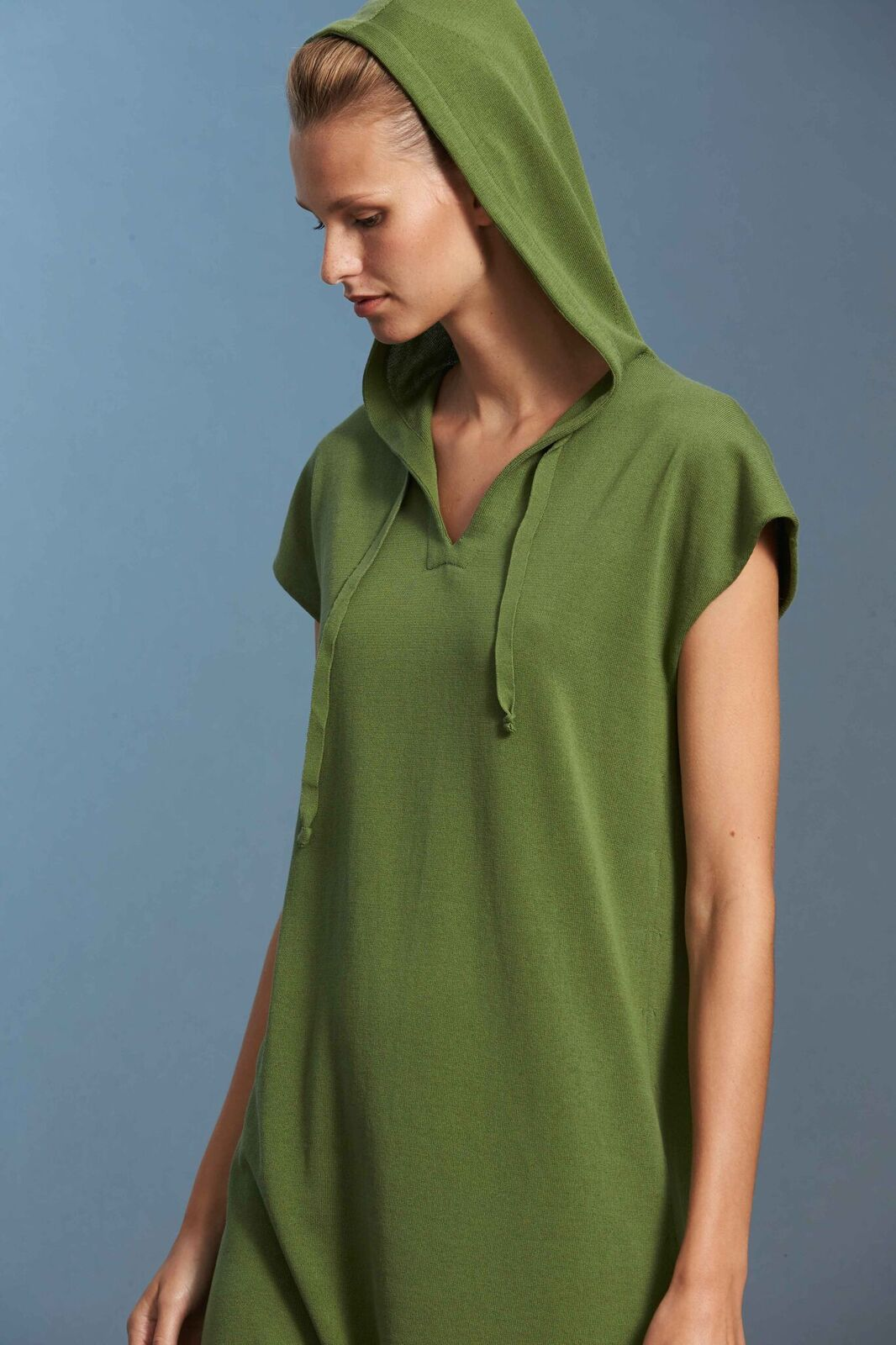 Standard Issue Hoodie Dress Green Dill Stockists Cotton Made in New Zealand