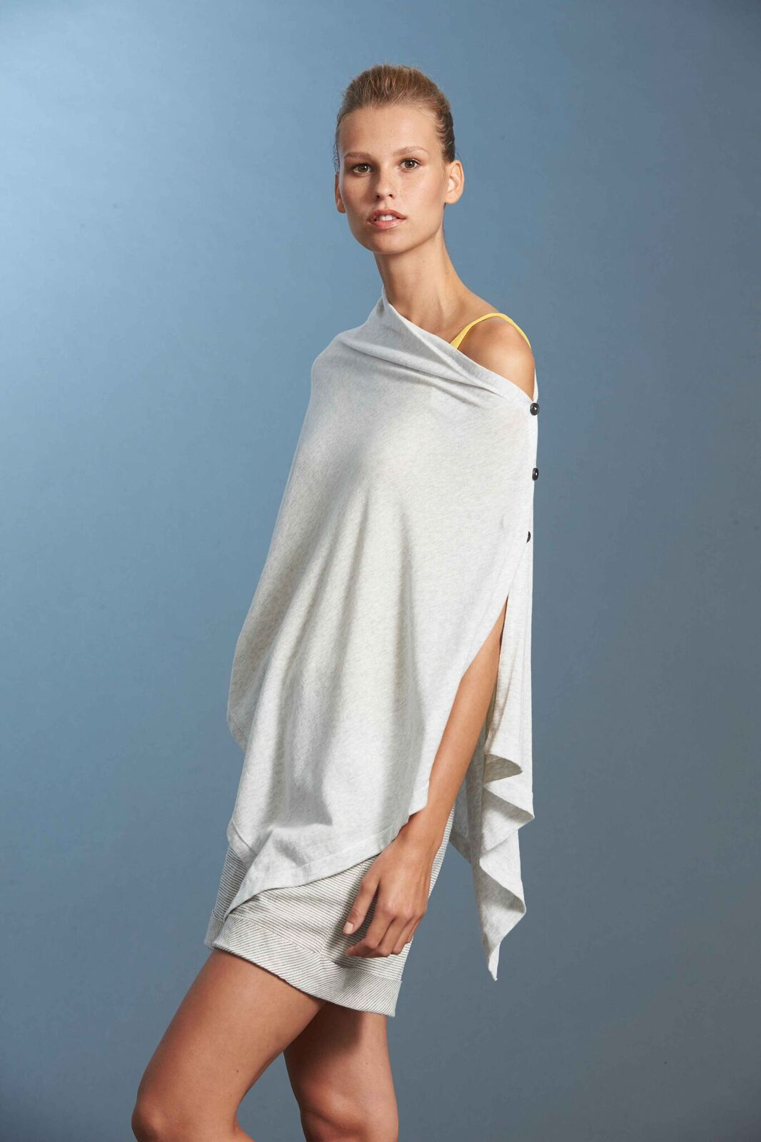 Standard Issue Stockists Micro Stripe Poncho Wrap Cotton Knit Made in New Zealand