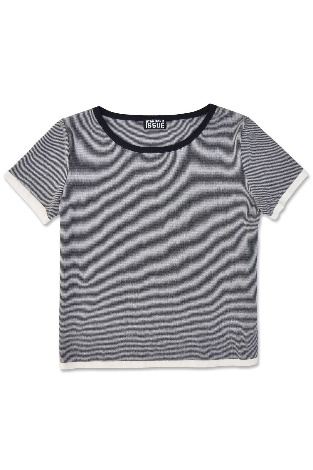 Standard Issue Micro Stripe Tee Cotton Knit Made in New Zealand