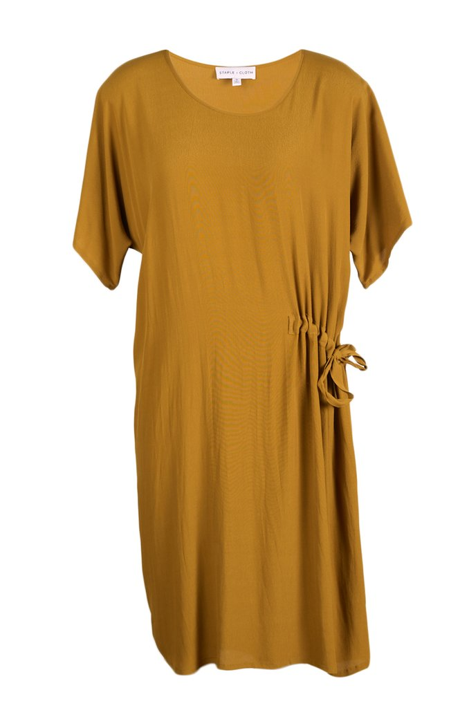 Staple and Cloth Trade Wind Dress Brass Buy NZ Made New Zealand Designer Clothing Stockists Auckland Parnell Shop Online