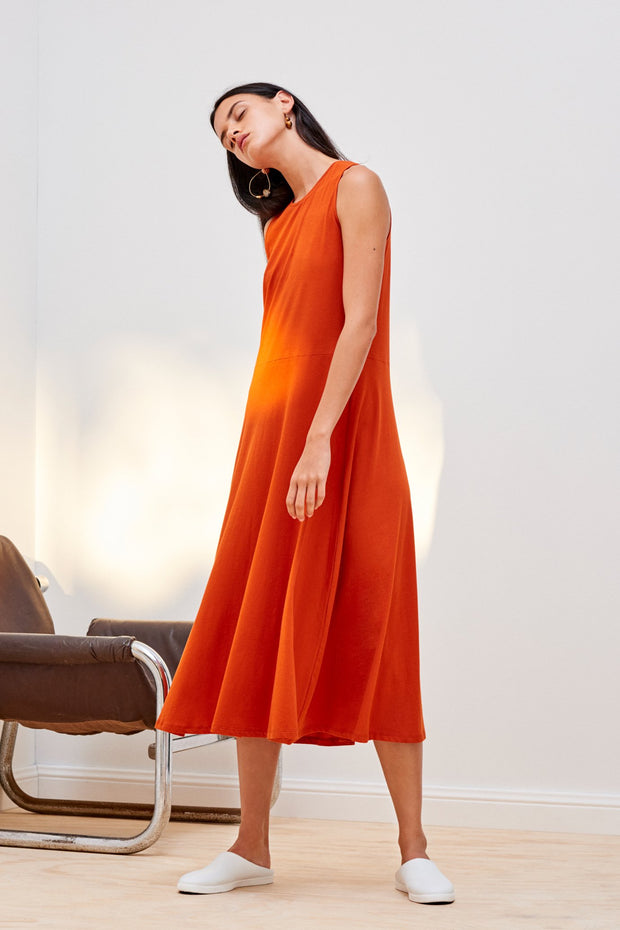 Kowtow stockists building block A line singlet dress in burnt orange Organic Fairtrade Ethical