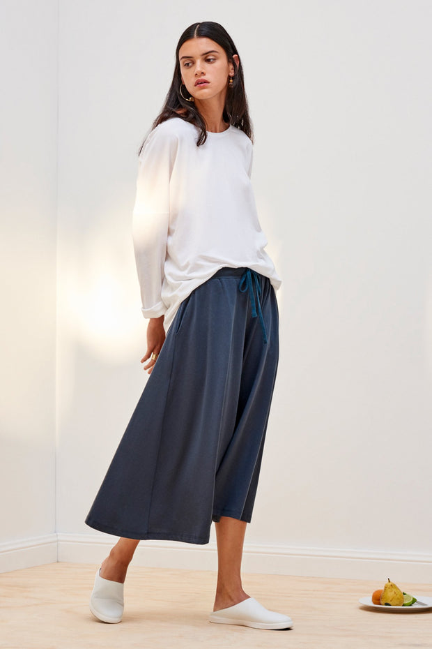 kowtow building block culottes in dark teal ethical organic fairtrade cotton shop online or at our Parnell store