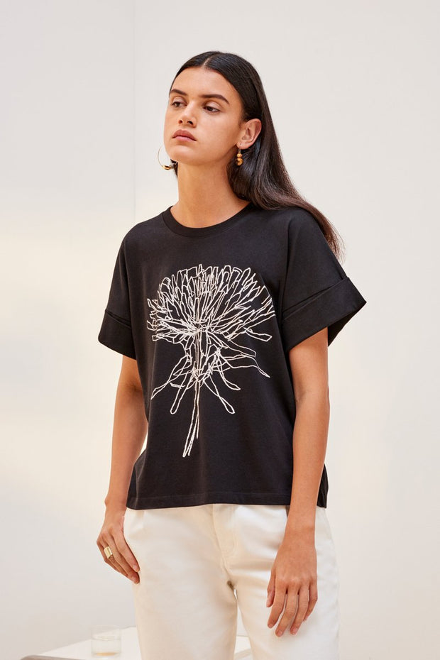 kowtow dandelion tee in black ethical organic fairtrade cotton shop online or at our Parnell store