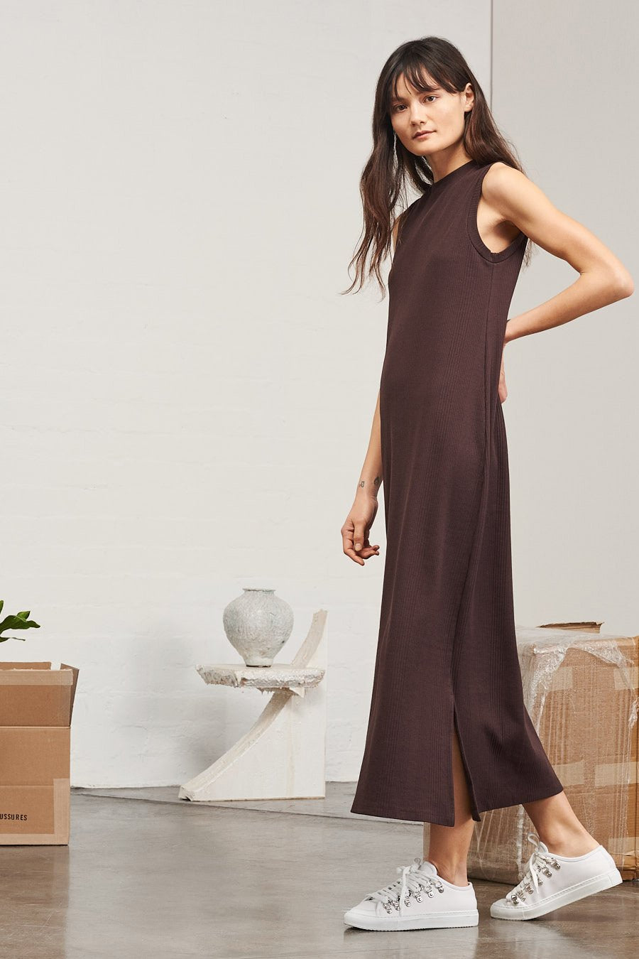 Kowtow stockists building block ladder rib long tank dress red and chocolate Organic Fairtrade Ethical