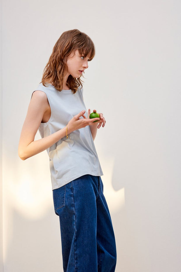 Kowtow stockists building block tank top in powder blue and white Organic Fairtrade Ethical