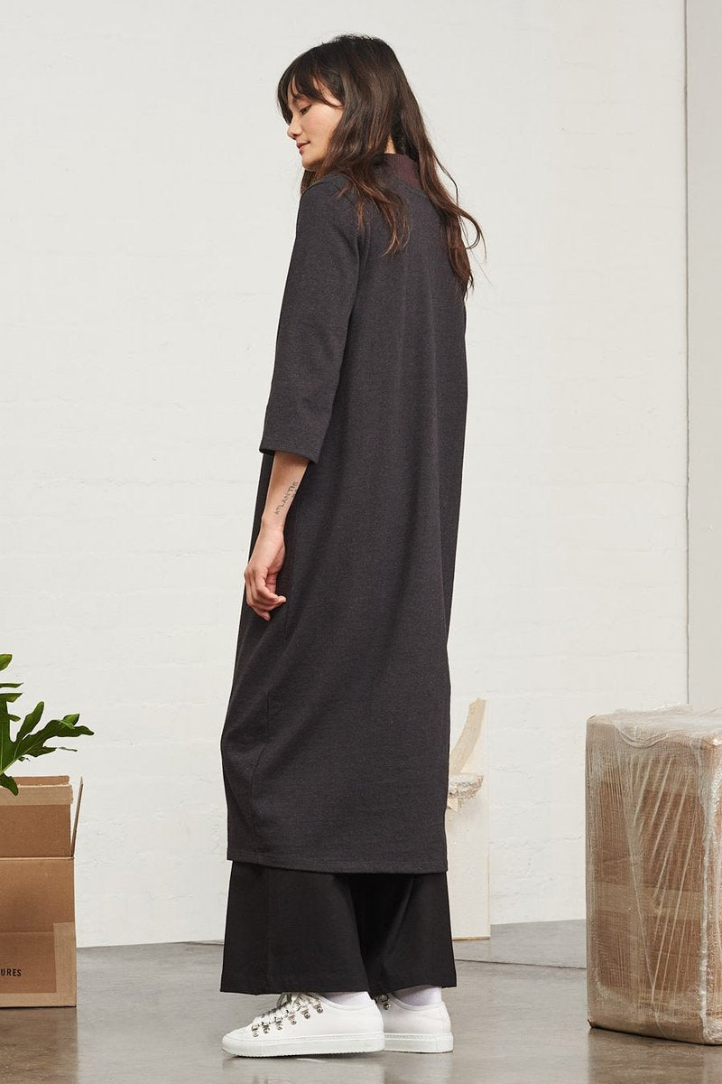 Kowtow stockists building block v neck sweater dress relaxed fit pink black Organic Fairtrade Ethical