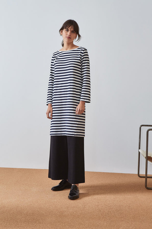 kowtow building block breton dress navy white stripe shop now online ethical cotton new zealand designer clothing nz stockists parnell