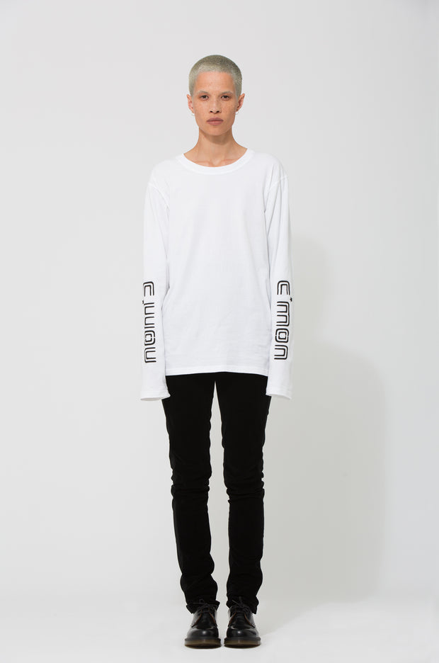 Nom*d C'Mon Longsleeve Top White Shop Online Made in new Zealand NZ Designer Clothing Stockists Auckland Shop Online Parnell Nom d Nomd Dunedin Fashion