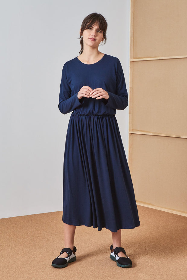 Kowtow Dancer dress building blocks BB Navy Ethical fairtrade cotton kowtow stockists nz designer clothing