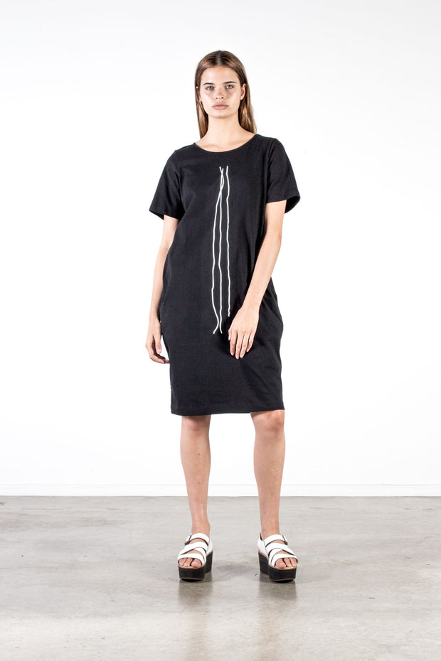 Nyne Distant Dress in Maud Print Black Cotton Knit Summer Season New Zealand Designer Fashion NZ Made Wool weave yne stockists auckland parnell online