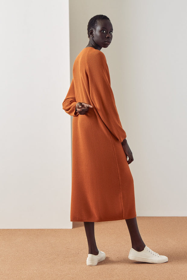 kowtow jumper dress rust kowtow shop now online ethical cotton new zealand designer clothing nz stockists parnell