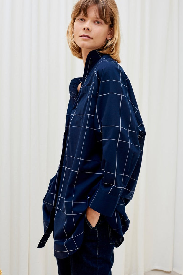 Kowtow stockists just love shirt navy check Organic Fairtrade Ethical