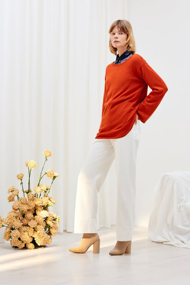 kowtow lakeside sweater in burnt orange ethical organic fairtrade cotton shop online or at our Parnell store