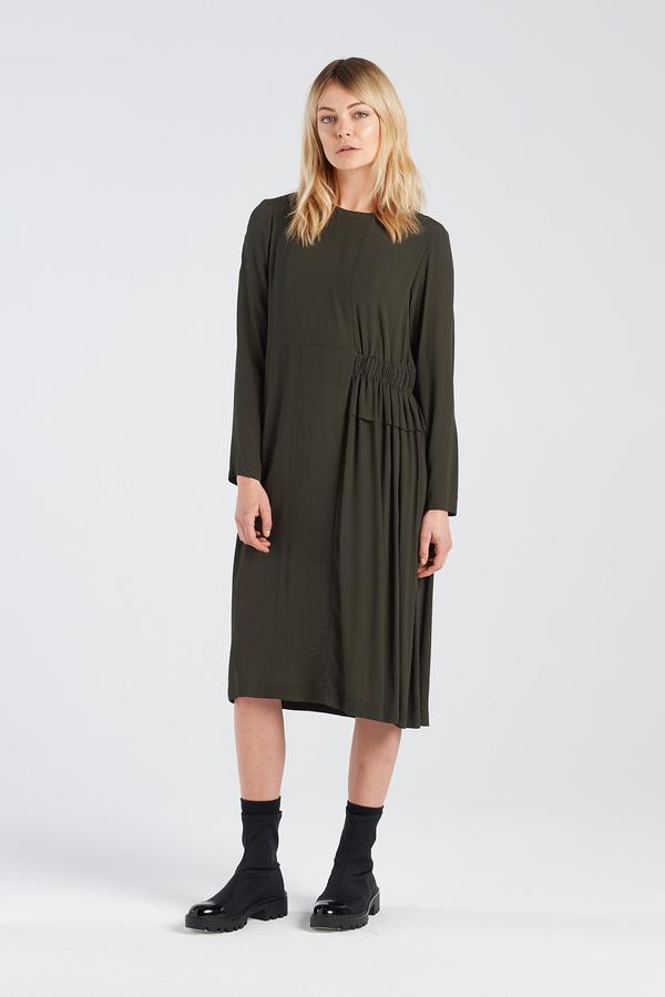 Nyne Metaphor Dress Moss Green NZ designed  New Zealand fashion NZ made long sleeve