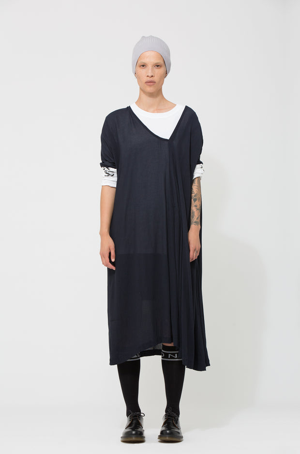 Nom*d Mixte Dress navy Shop Online Made in new Zealand NZ Designer Clothing Stockists Auckland Shop Online Parnell Nom d Nomd Dunedin Fashion