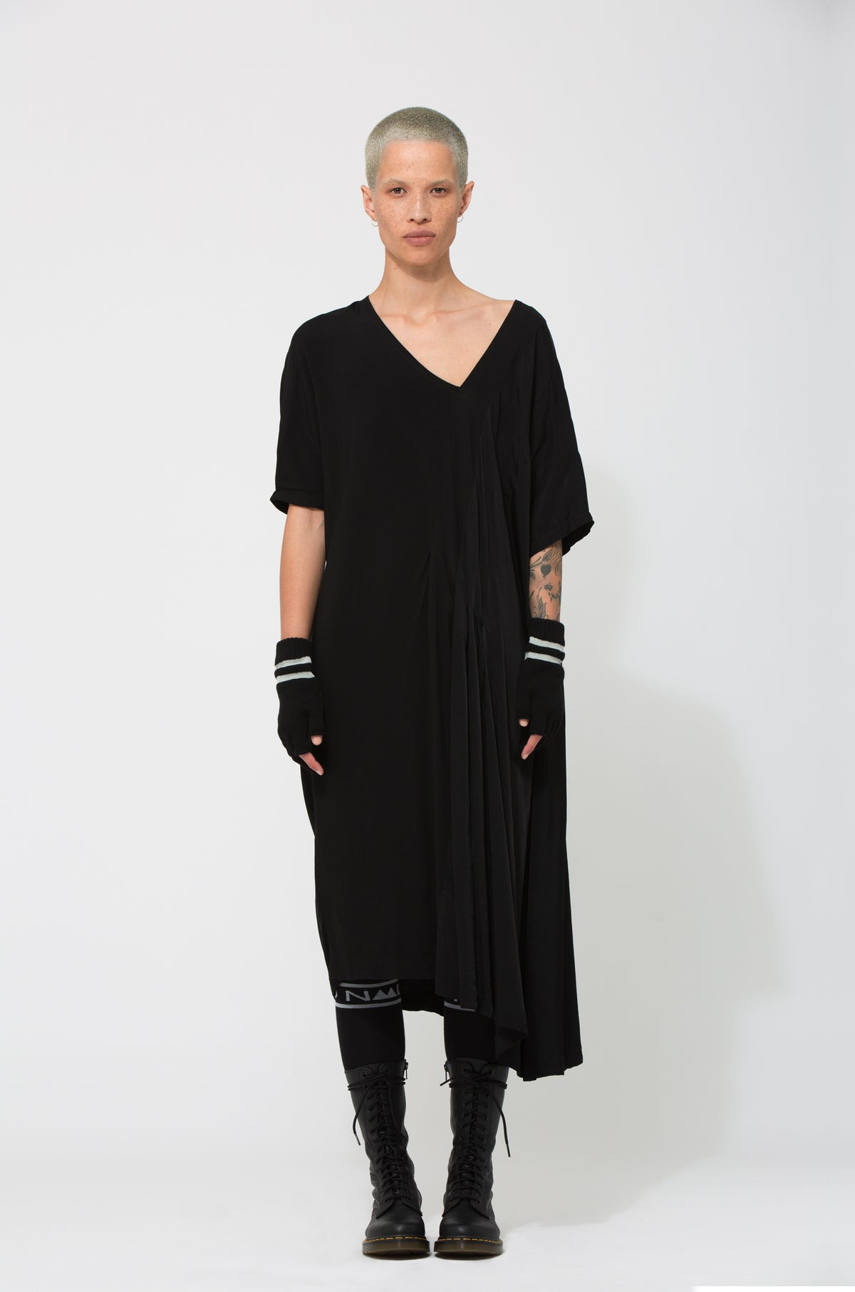 Nom*d BLACK SATIN RAYON Mixte Dress Shop Online Made in new Zealand NZ Designer Clothing Stockists Auckland Shop Online Parnell Nom d Nomd Dunedin Fashion