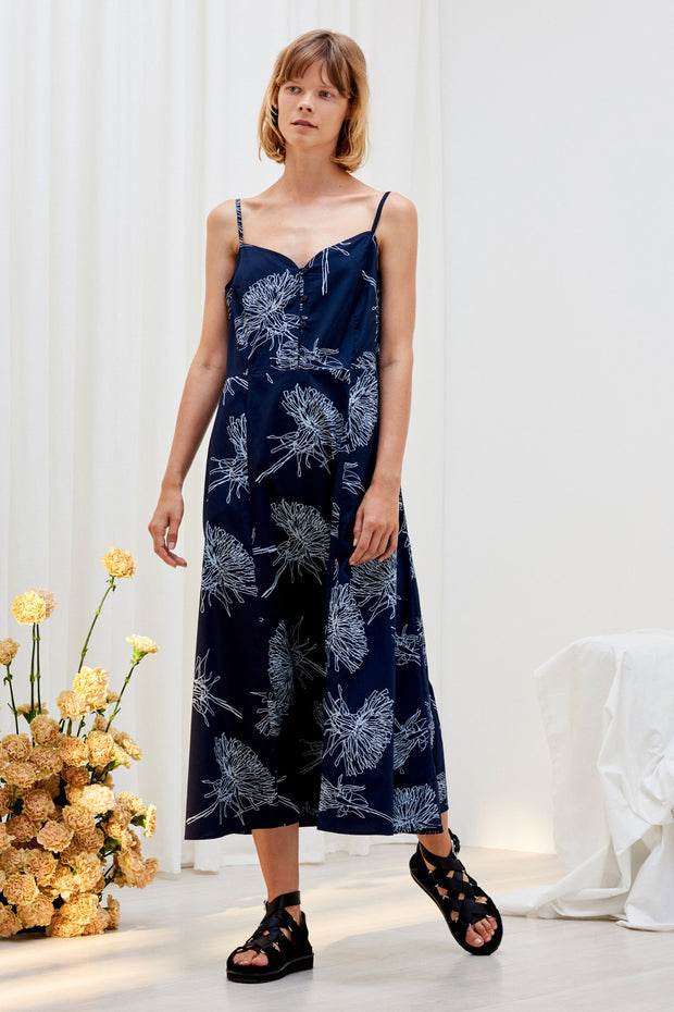 kowtow poet dress dandelion navy ethical organic fairtrade cotton shop online or at our Parnell store