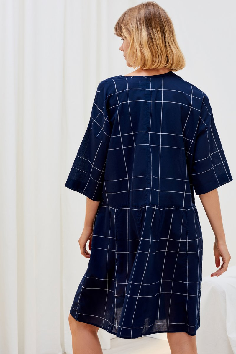 Kowtow stockists reflections Dress navy check Organic Fairtrade Ethical