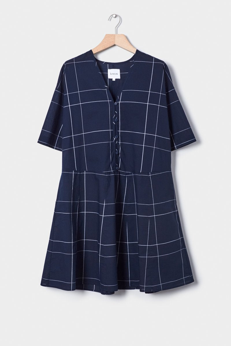 Kowtow stockists reflections Dress navy check Organic Fairtrade Ethical \