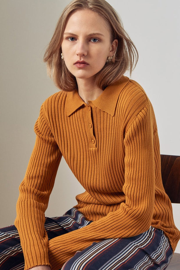 Kowtow stockists Rib Polo Amber Organic Fairtrade Ethical