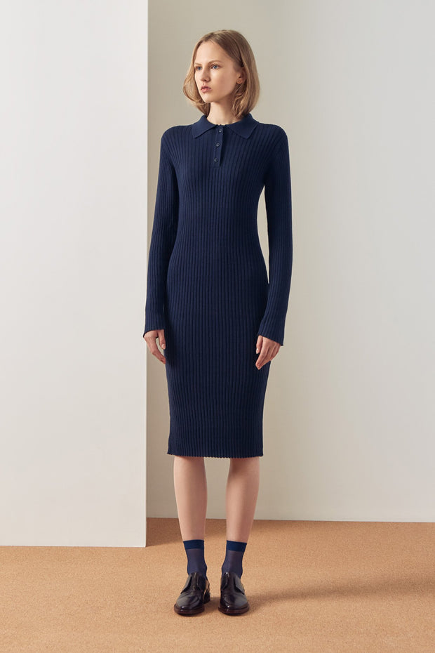Rib polo dress navy kowtow clothing ethical clothing ethical fashion winter range winter 19
