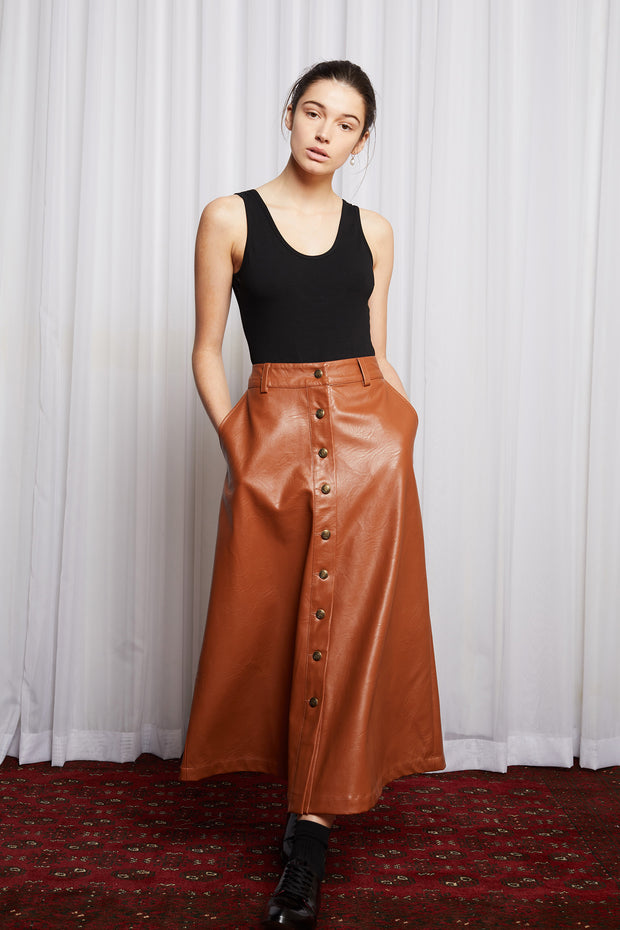 Salasai cold town skirt Tan Beige Long Skirt Designer clothing designed in Australia