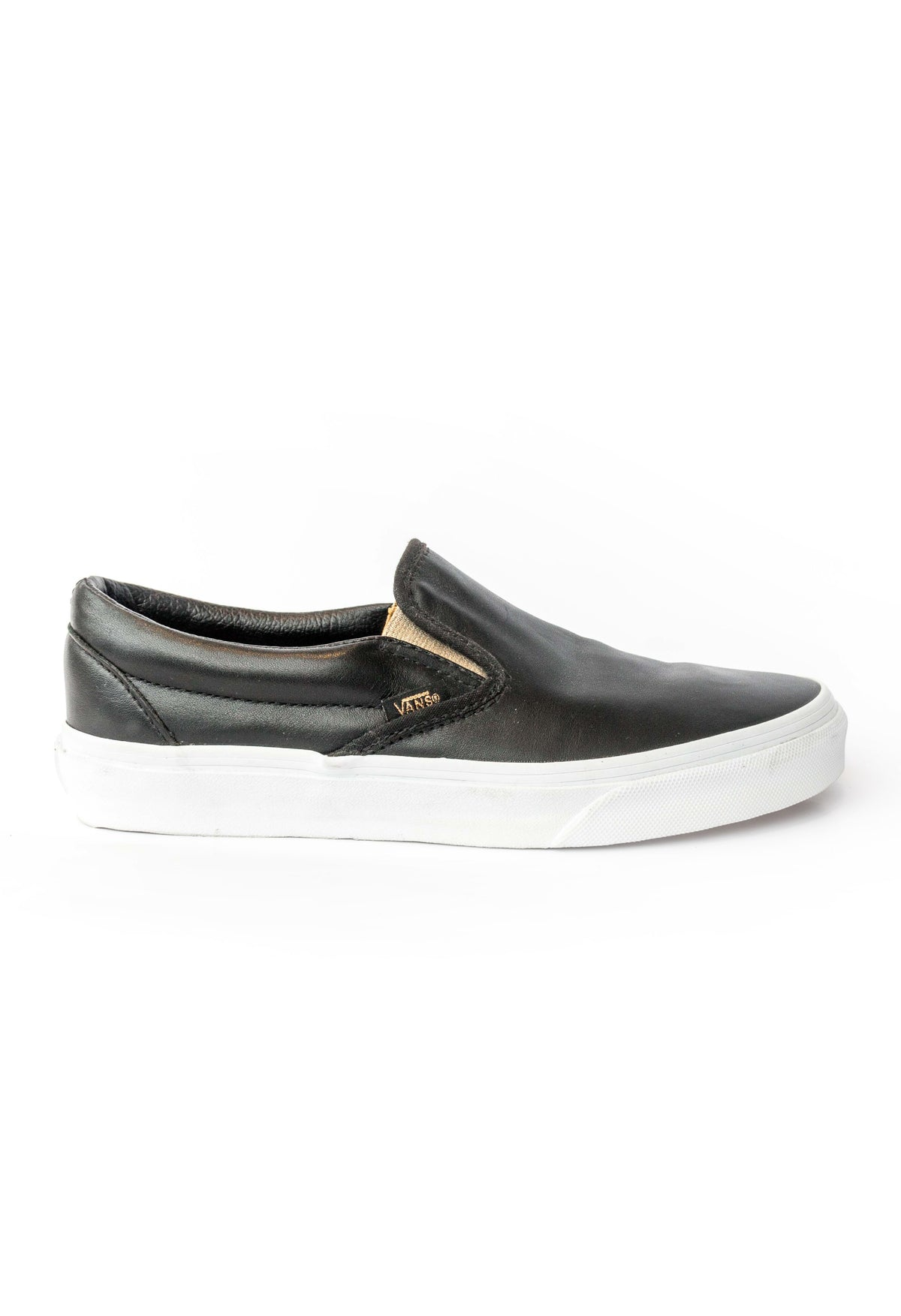 Classic Slip On Leather Black and Gold Vans Stockists New Zealand Buy Online Vans Skate Shoes Street Lace up Sneakers