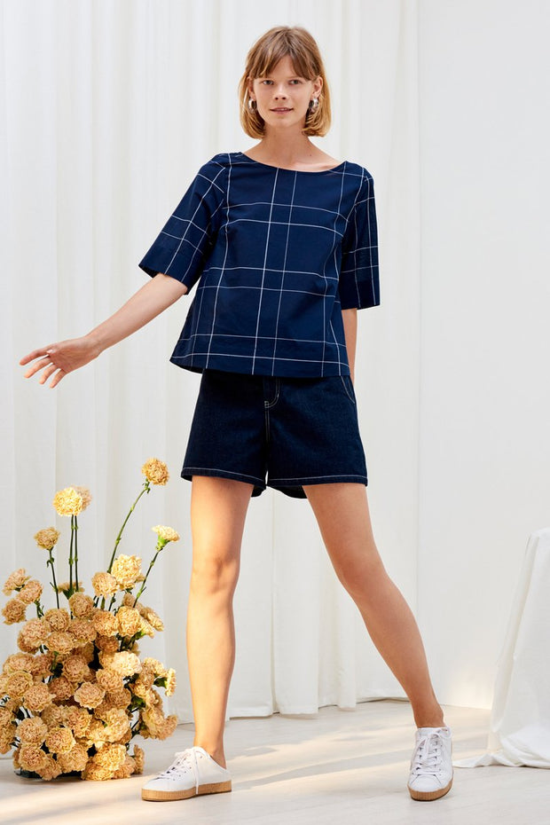 Kowtow stockists Study Top Navy Check Organic Fairtrade Ethical