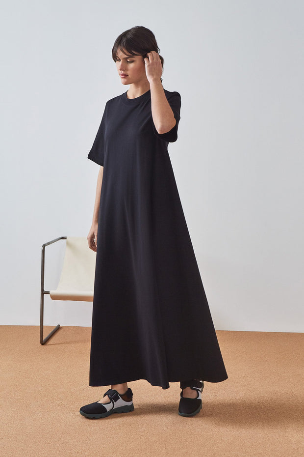 Kowtow Tee Shirt Swing dress Building Block Black Dress New Zealand designer clothing nz designer clothing organic Fair trade