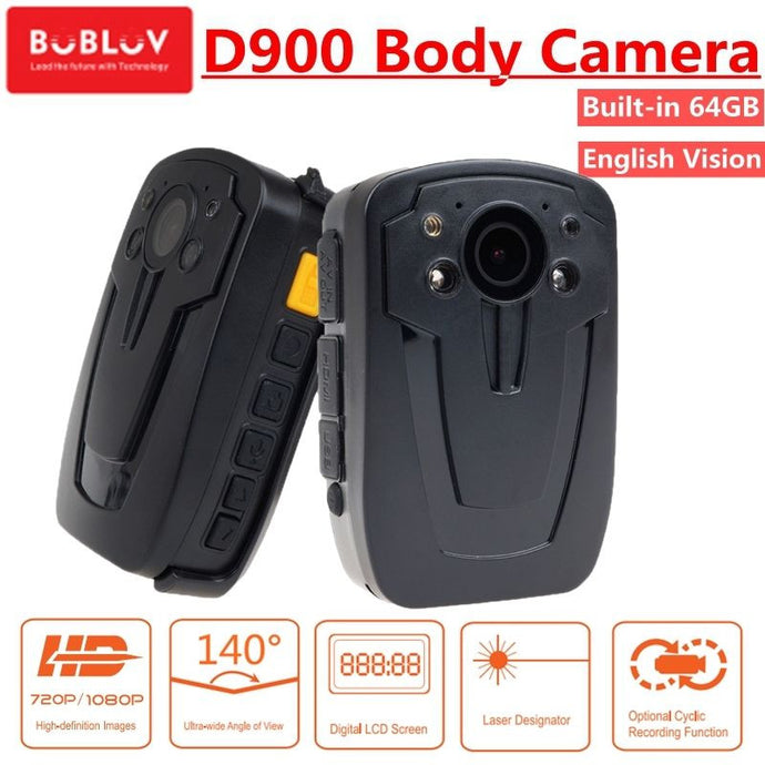 BOBLOV D900 HD 1080P 64GB Police Cam DVR Hands Free Police Body Security Worn Camera