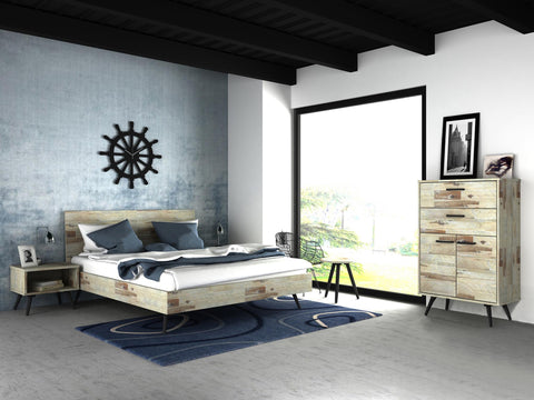 Bedroom Set D comes with Wardrobe, Bed, Dresser, Side table - Cartbibi