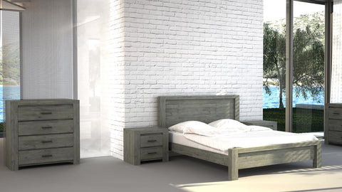 Bedroom Set E comes with Wardrobe, Bed, Dresser, Side table - Cartbibi