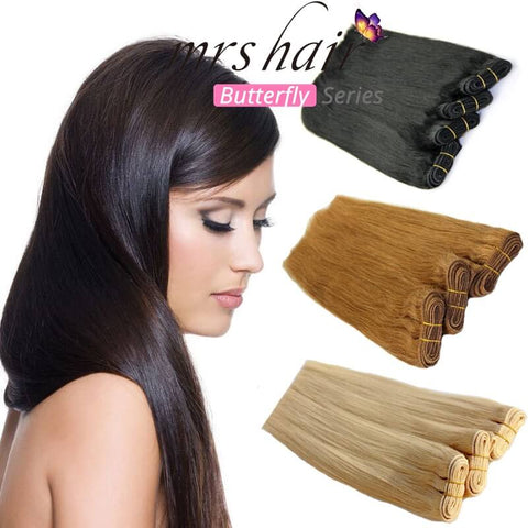 MRSHAIR Butterfly Series 100% Human Hair Weft Silky Straight Hair Weaves 100g