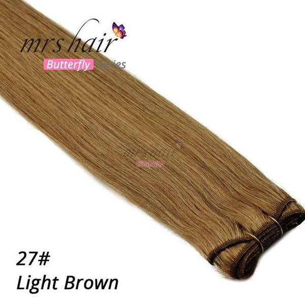 "MRSHAIR Hair Weave MRSHAIR Butterfly Series Silky Straight Human Hair Weaves 100grams Hair weft Bundle Blonde Black Brown 16' 18' 20"" 22"""