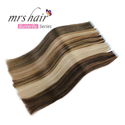 MRSHAIR Tape In Hair Extension MRSHAIR Butterfly Series Piano Color Tape In Hair On Adhesives Double Sided Mixed color Tape Hair Extension 20pcs