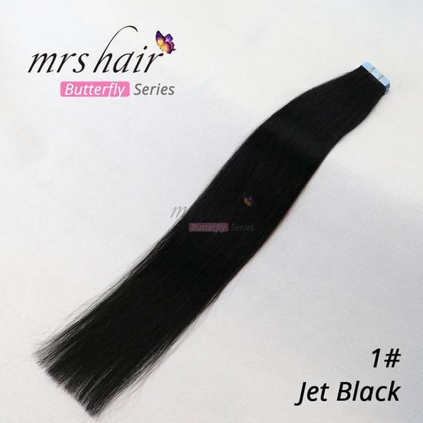 "MRSHAIR Tape In Hair Extension MRSHAIR Butterfuly Series Tape Skin Weft Human Hair Straight 20pcs Tape In Extension 14"" 16"" 18"" 20"" 22"" 24"""