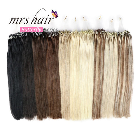 MRSHAIR Micro Ring Hair Extensions 1g/Stand Micro Bead Loop Human Hair Extension