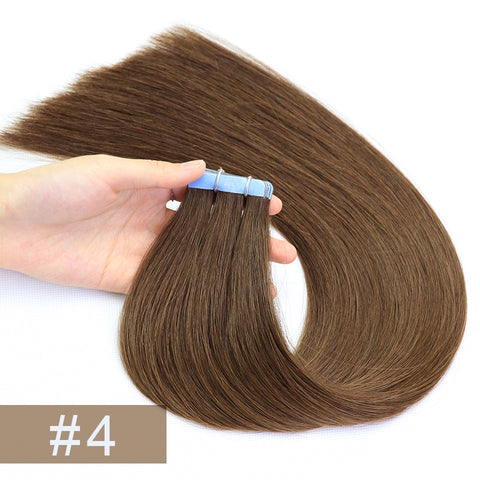Double Drawn Tape In Hair Extensions Cuticle Remy Human Hair Thick Ends 4#