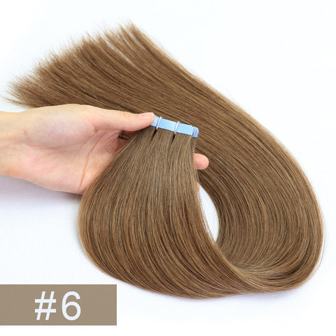 Double Drawn Tape In Hair Extensions Cuticle Remy Human Hair Thick Ends 6#