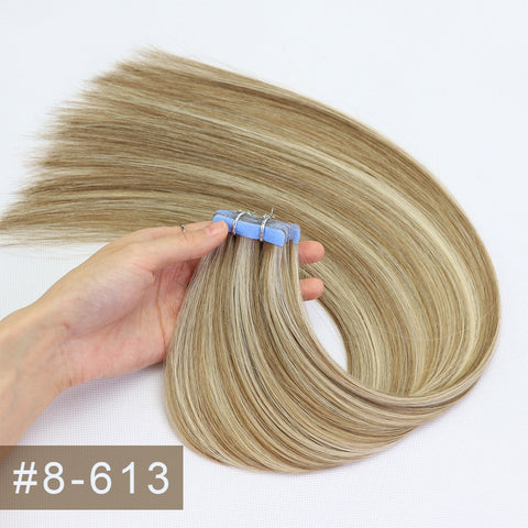 Double Drawn Tape In Hair Extensions Cuticle Remy Human Hair Thick Ends P8/613#