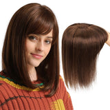 Human Hair Topper Brown Color With Bangs 13x13cm Lace Middle Base Wig
