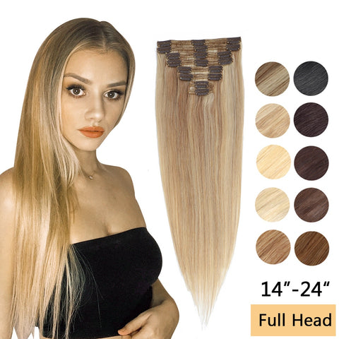 MRSHAIR 8Pcs/set Clip in Human Hair Extensions Clip in Hair Extension