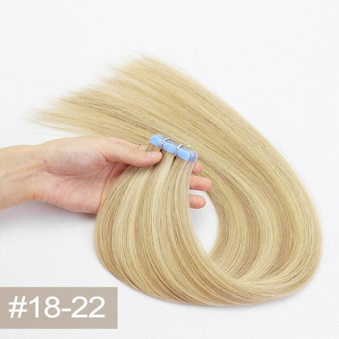 Double Drawn Tape In Hair Extensions Cuticle Remy Human Hair Thick Ends M8/22#