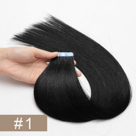 Double Drawn Tape In Hair Extensions Cuticle Remy Human Hair Thick Ends 1#