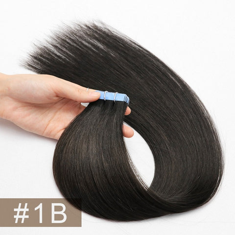 Double Drawn Tape In Hair Extensions Cuticle Remy Human Hair Thick Ends 1B#