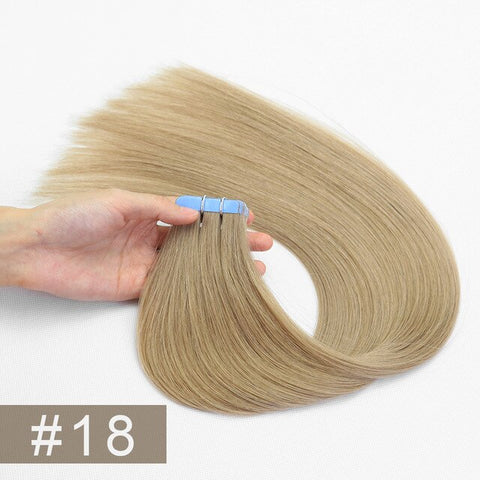 Double Drawn Tape In Hair Extensions Cuticle Remy Human Hair Thick Ends 18#