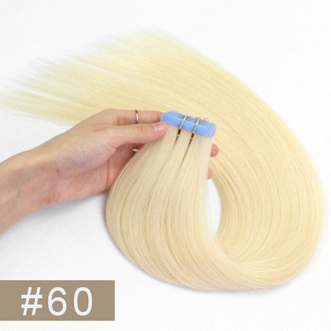 Double Drawn Tape In Hair Extensions Cuticle Remy Human Hair Thick Ends 60#