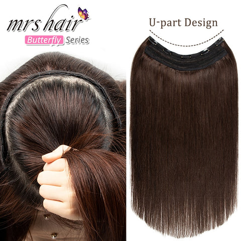 U Part Clip in Human Hair Extensions 5 Clips Full Head
