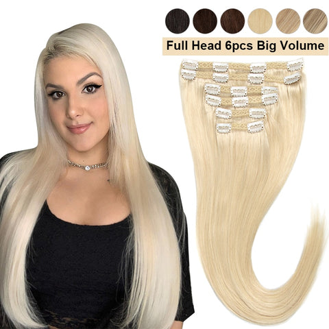 Full Head Clip In Human Hair Extensions 6/7/8 Pcs